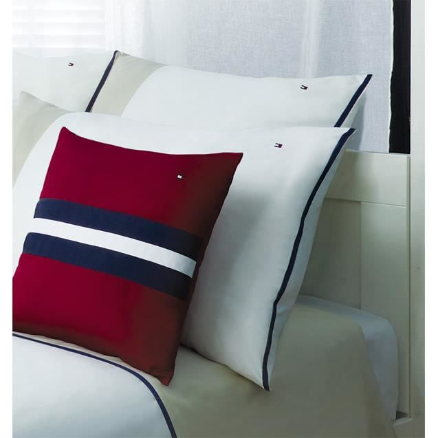 taie d'oreiller color block red 50x80 - achat / vente taie d