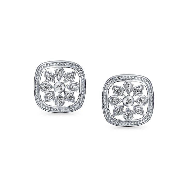 Bling Jewelry pendentif en argent CZ Style Vintage boucles doreilles flocon carré