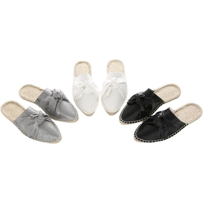 Mode casual Espadrille Slipper Backless Mocassins Slip-on Sandales plates SC5VQ Taille-36 1-2