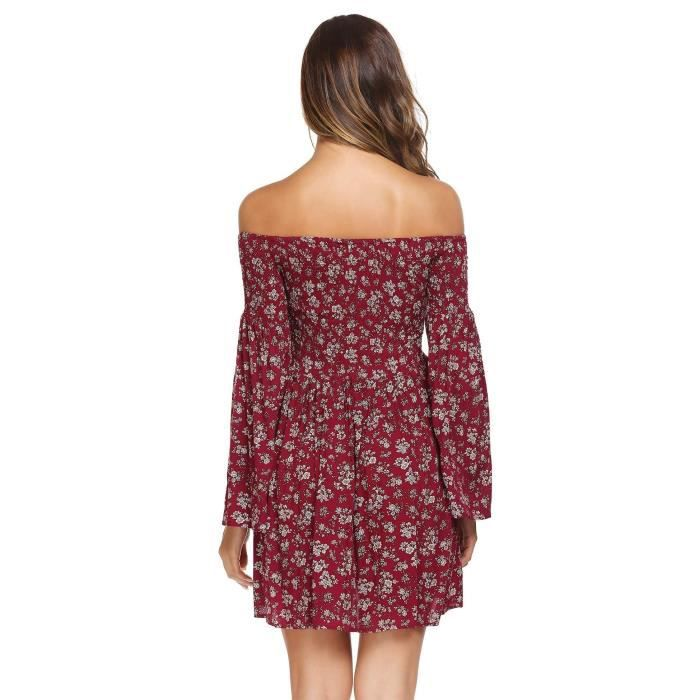 Womens Off-shoulder Flare Sleeve Floral Mini Fitted Pleated Dress Slim High Waist Casual Party Chi 2IEI7K Taille-36