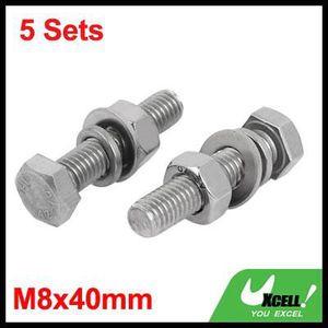 sourcing map 5 Set M8x40mm vis T/ête Hex acier Inox 316 Kit Assortiment /Écrou rondelle