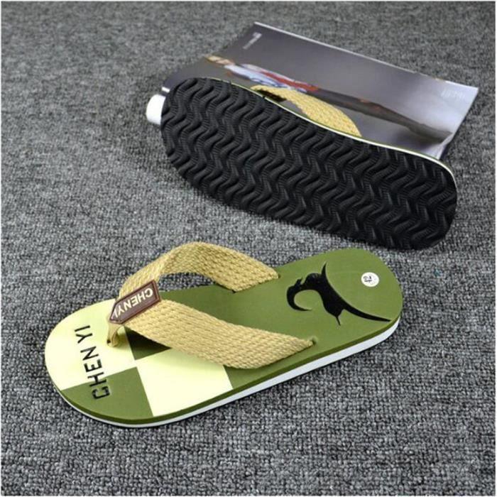 Chaussures Homme Chaussure Branché Poids LéGer Sandale De Plage Pour Sandale Hommes Ete Pantoufle Plage Plus Taille,vert,43
