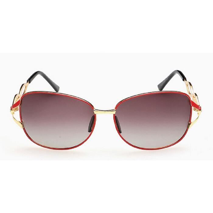 ... Lunettes de Soleil à la mode Oversize pour femmes verres Polarisés UV400  et Monture en Acier ... 98cbf72327f7