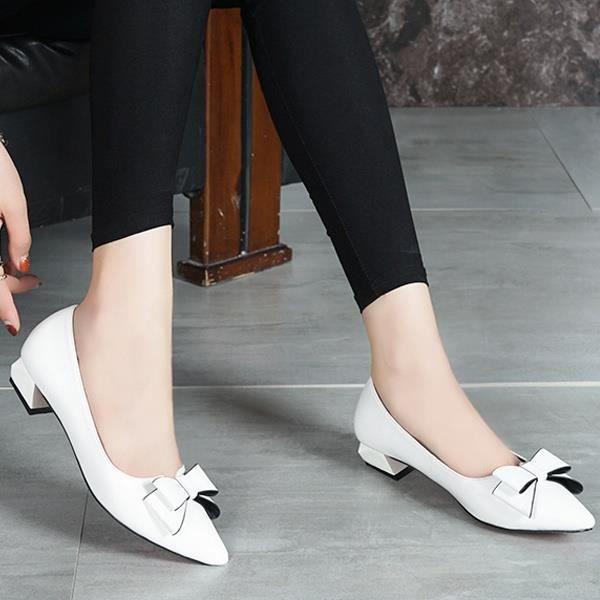 Escarpin Noir 7.5 Les nouvelbowknot simple Toe Chunky mi Pointu talon Asakuchi bureau Carrière Chaussures