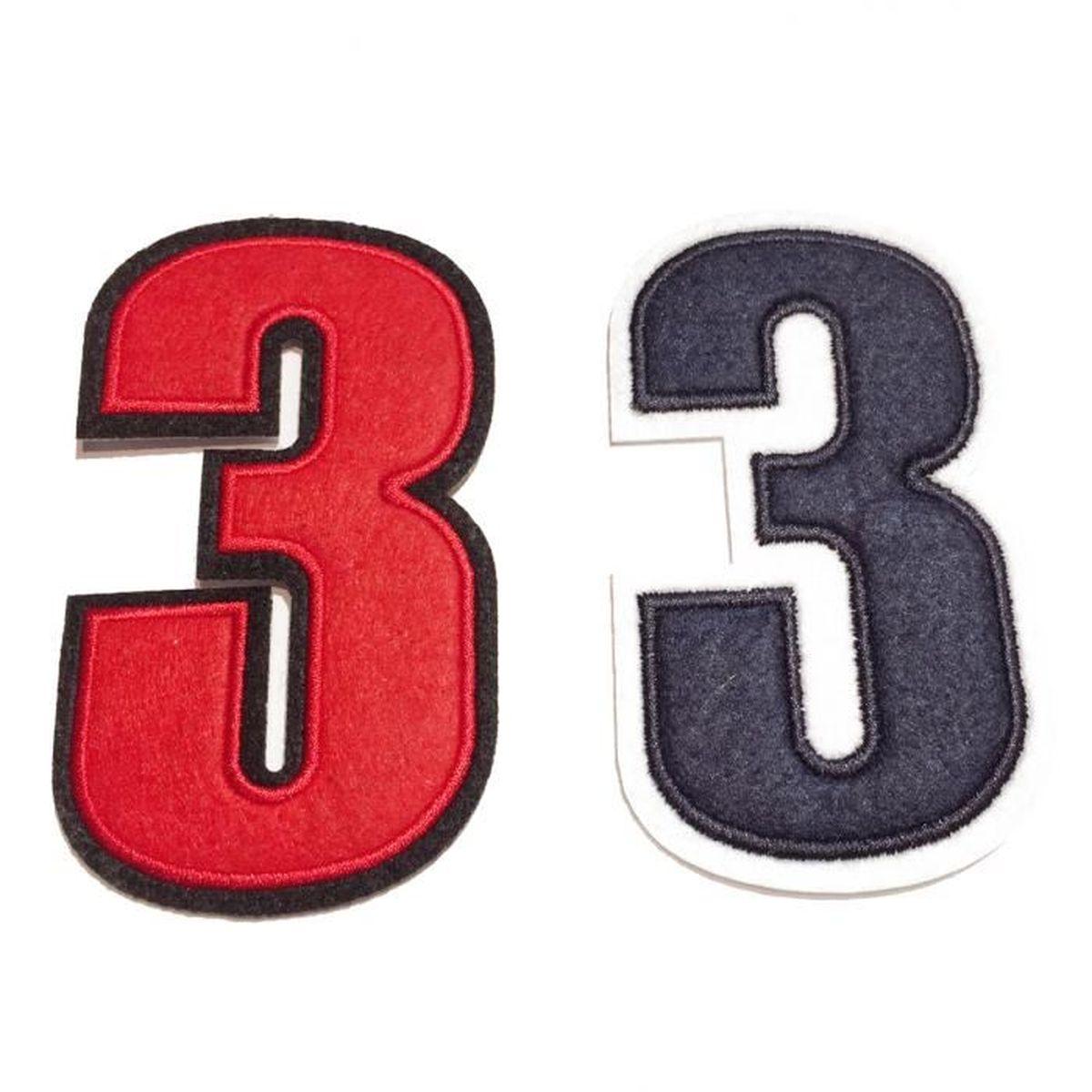 ecusson brodé à coudre couleur rouge motif de chiffre au choix – 3