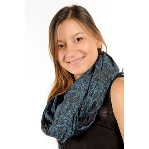 ECHARPE - FOULARD Cheche foulard coton Latika noir turquoise 3d614919f89