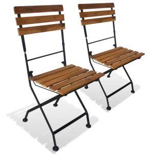 FAUTEUIL JARDIN Chaise Pliable De Jardin 2 Pcs Bois Dacacia 40 X