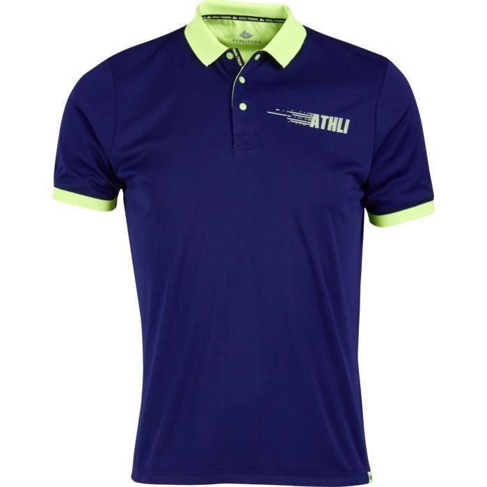 Polo bleu – Col boutonné – Manches courtes.MAILLOT DE TENNIS - T-SHIRT DE TENNIS - POLO DE TENNIS