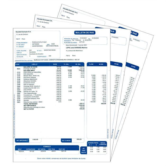 400 feuilles - Prédéfinies pour les logiciels Ciel de paye - Feuille à feuille - 2017LOGICIEL BUREAUTIQUE