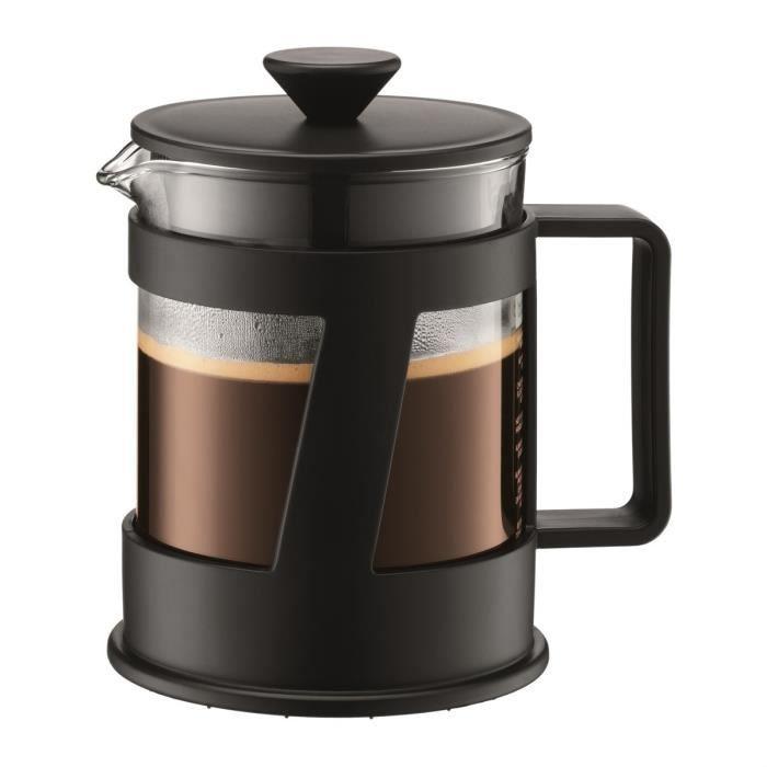 BODUM CREMA Cafetière à piston capacité 4 tasses 0,5L noir