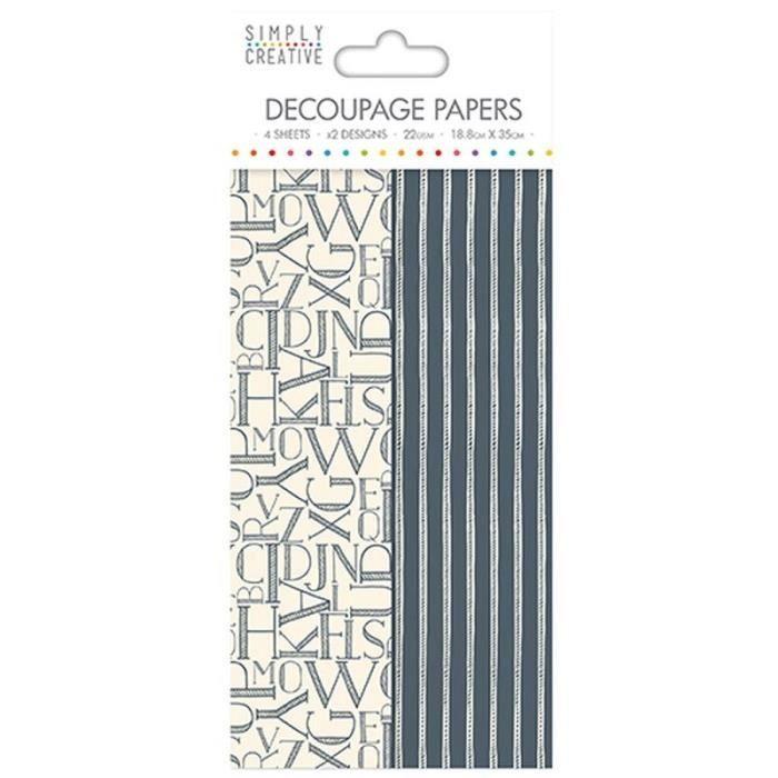 LA FOURMI Papier Découpage - Lettres Noires - 18,8x35cm x 4fl. (2x2 modèles)