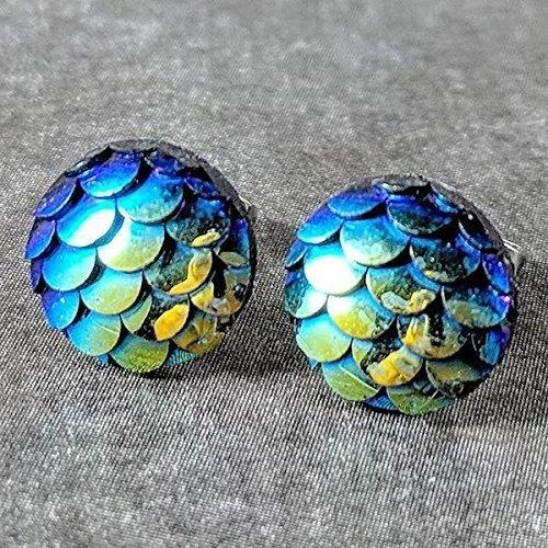 Bleu vert de la femme sirène Boucles doreilles - Messages hypoallergéniques RMAIY