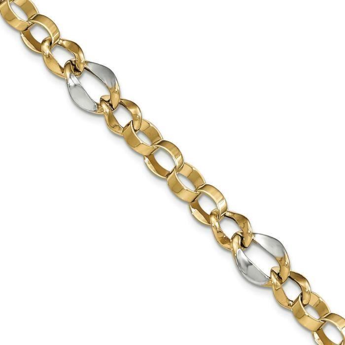 14 carats et Rhodium fantaisie lien-bracelets de 7,5 cm