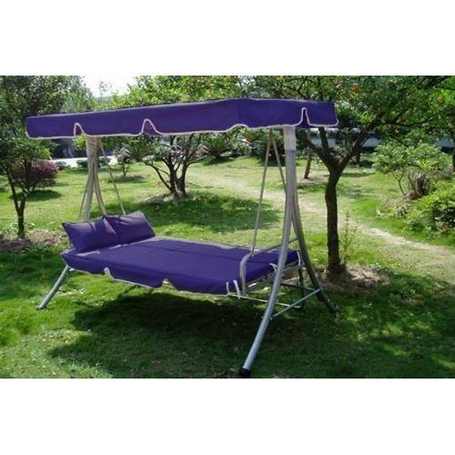 balancelle lit canape convertible relaxation 2 coussinets gratuits bleu achat vente. Black Bedroom Furniture Sets. Home Design Ideas