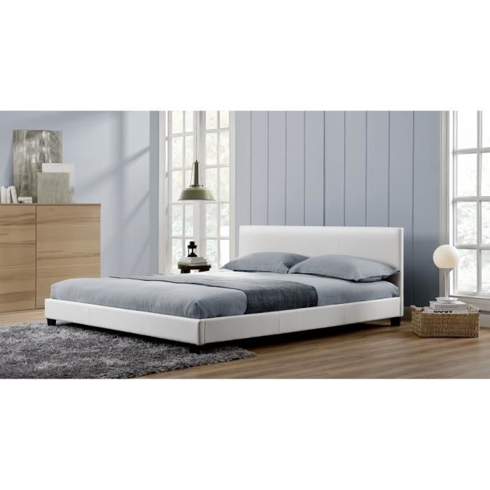 cadre de lit blanc 160x200 achat vente cadre de lit. Black Bedroom Furniture Sets. Home Design Ideas