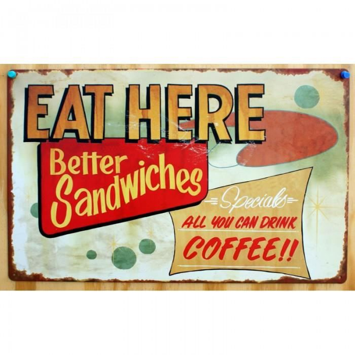 Plaque eat here better sandwiches tole deco snack bar diner - Achat ...