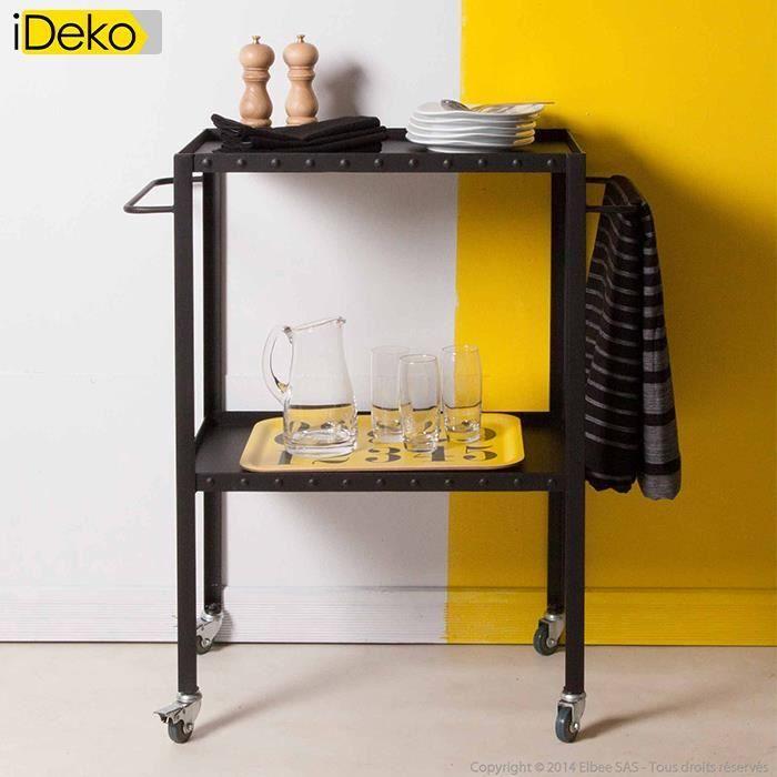 DESSERTE DE JARDIN iDeko®Table desserte en métal 2 plateaux sur roule
