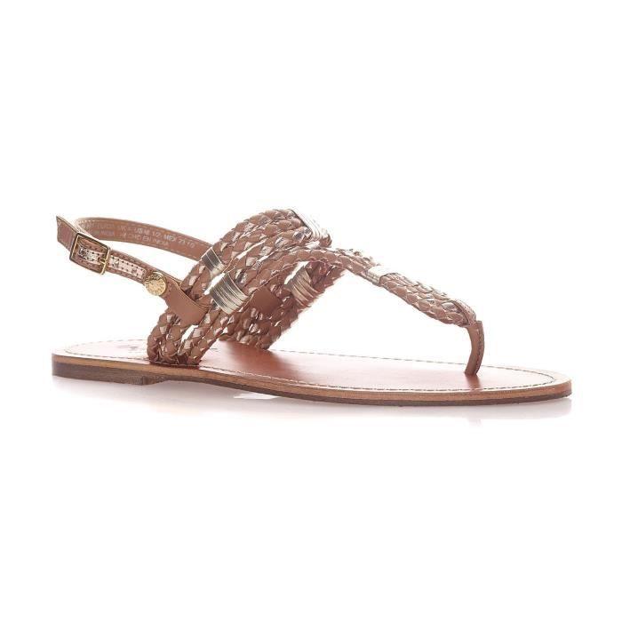 Jane - Nu pieds en cuir - marron