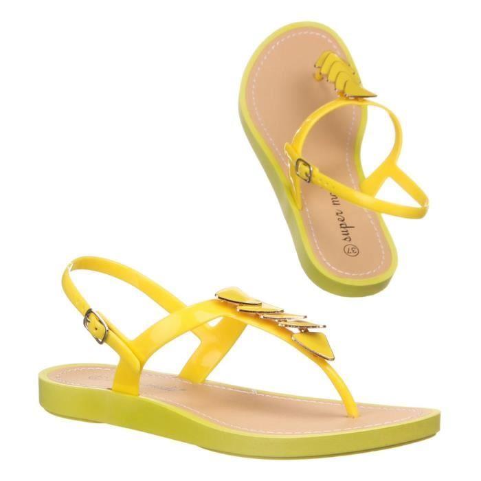 Femme chaussures sandales Strappy caoutchouc flip flops jaune 41