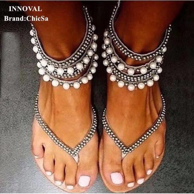 Nouveau Perlé Désign Été Sandales Femme Européen Mode Plat Grande Taille Bohême Sexy Sandales Femelle