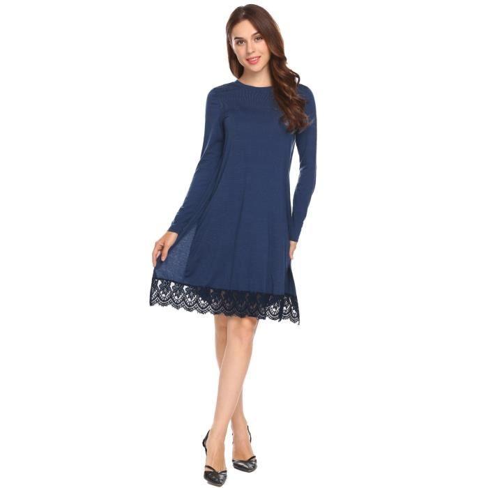 robe Femmes O-col à manches longues dentelle garniture plisséedécontractée
