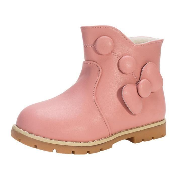 GEMVIE Bottine Fille Enfant de Neige Boots Velours Chaud d'Hiver Nœud Papillon Le5LkpiE6