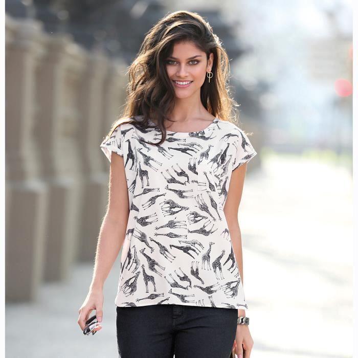 6d31c90aab6 Blouse manches courtes girafes imprimées femme Imprimé ivoire ...