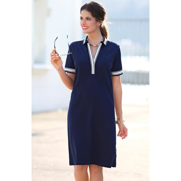 fed1fa3a4 Robe courte col chemise manches courtes femme