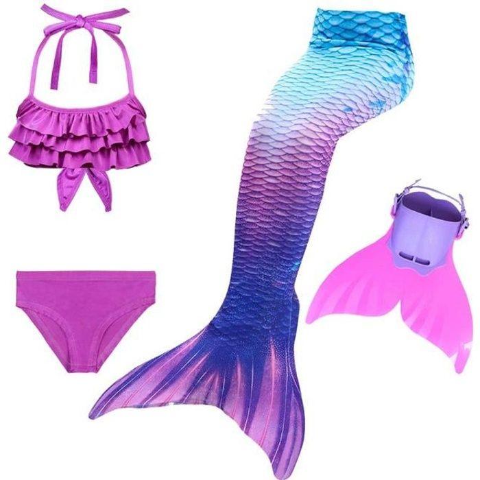 MAILLOT DE BAIN 4PCS Ariel Deguisement Queue de Sirène Enfant avec