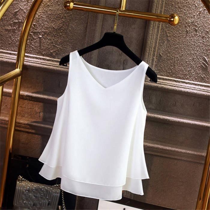 Top Col En shirt D'été Soie Femmes Casual Mousseline Sans Manches Solide De Blouse T V qwx64gpC