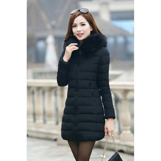 Femme Veste Doudoune Manteau Noir longue Mini Grande Taille Hiver Avec Capuche PnWpWqd