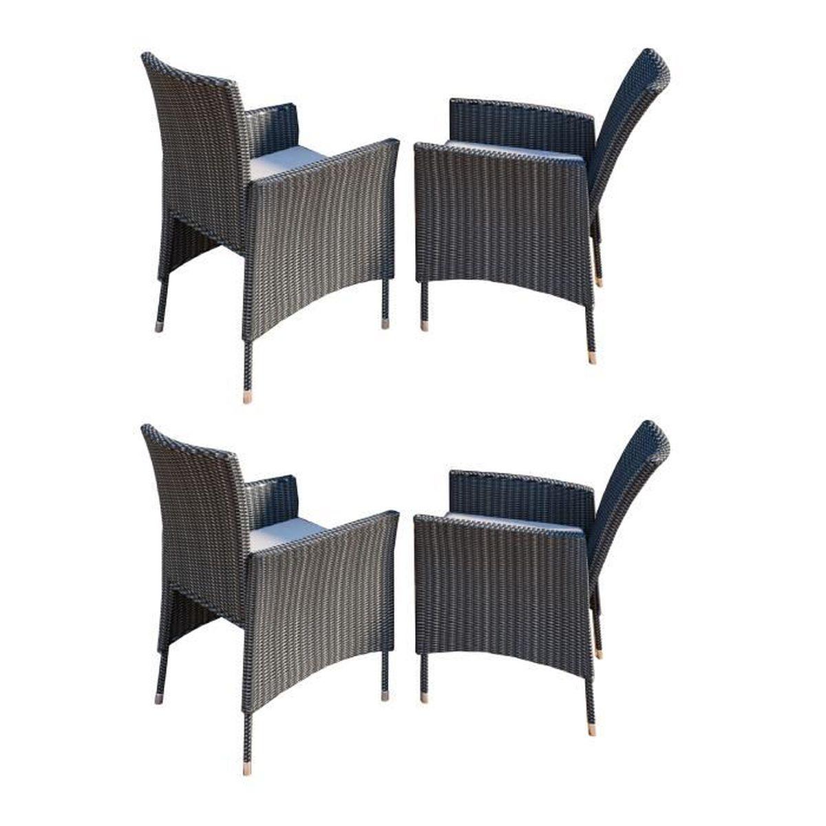 4x Chaise de jardin Rotin avec coussin Gris - Achat / Vente fauteuil ...