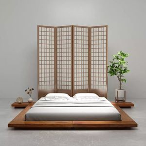STRUCTURE DE LIT HWA Cadre de lit Futon Style japonais Bois Finitio