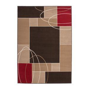 Tapis de salon avec moulure 10 mm marron rouge blanc 80x150 cm ...