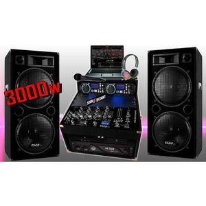 PACK SONO PA DJ  PACK SONO COMPLÈTE 3000W + 2 ENCEINTES SONO