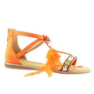 SANDALE - NU-PIEDS Angkorly - Chaussure Mode Sandale femme pom-pom br