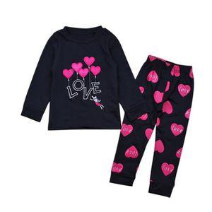 Ensemble de vêtements 2-7 Ans Enfant Fille Pyjama 2 Pcs Ensemble de Vête ... a03b6e1fb19