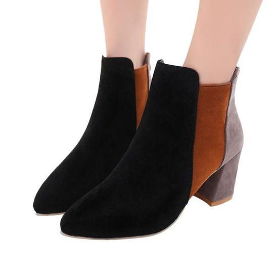 Femmes Pointu Suede Toe mélangées Chaussures à talon couleurs mélangées Toe Martin Bottes Zipper Boot qinhig1479 Noir Noir - Achat / Vente botte 0815ef