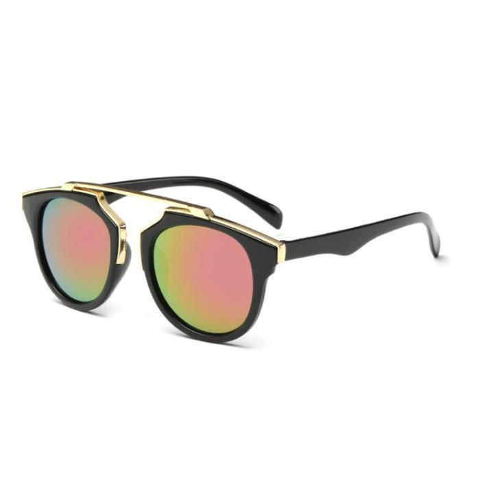 Lunettes de soleil mixte homme et femme Fashion avec Grande Cadre Rétro sunglasses Anti-Uv Noir/Violet
