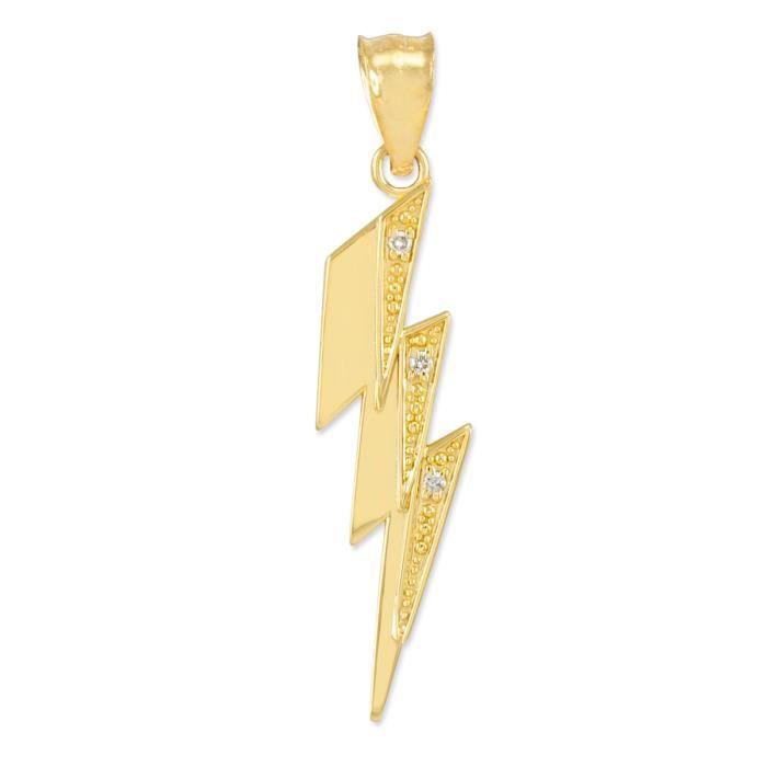 Pendentif 10 ct 471/1000 or Coup de diamants Tonnerre- Avec