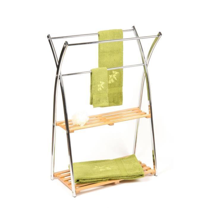 Porte serviettes metal bambou 2 niveaux achat vente porte serviette porte serviettes - Salle de bain porte serviette ...