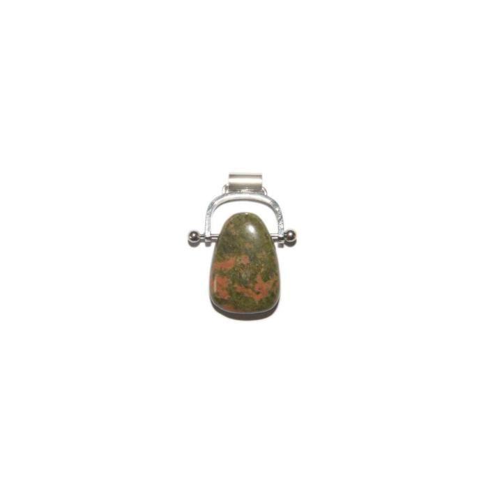 Pendentif Unakite pierre percée avec attache argentée