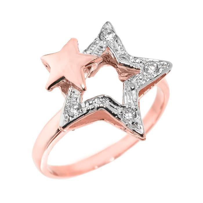 Bague Femme 14 ct Or rose 585/1000 Double étoile de lEstAvecDiamant