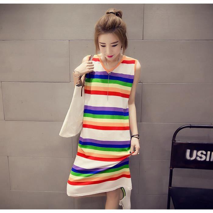 Colorful Robes rayé Femmes Nouvelle Collection coréenne Mode manches V Robe dété cou