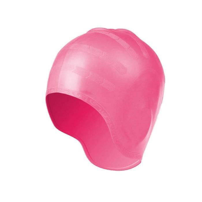 Adulte extensible Natation imperméable Cheveux longs Chapeau silicone oreille Coupe Bonnet