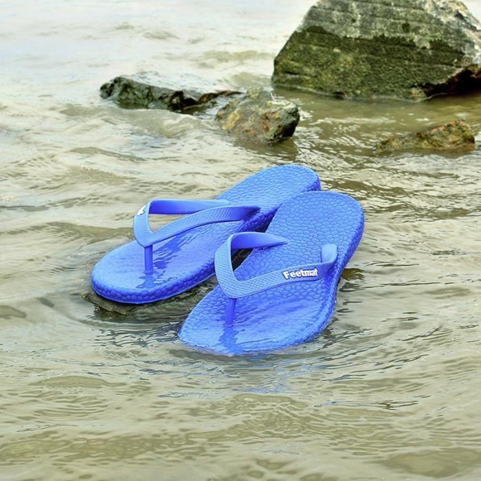 2017 nouveaux hommes de mode chaussures de plage d'été doux flip flops plat,bleu royal,43