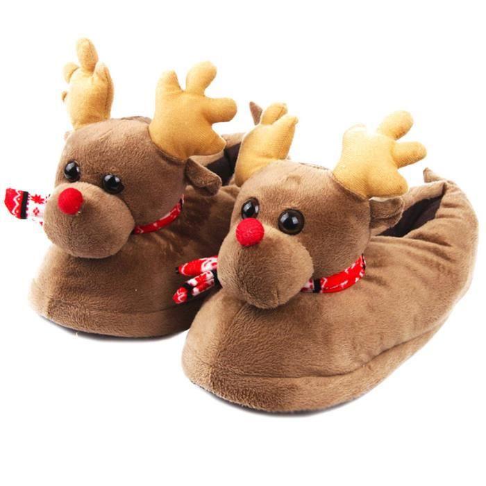 Pantoufles Femmes Hommes en peluche Hiver Cerf de Noël Adulte Chaussons doux et chauds Populaire LLT-XZ140Marron39