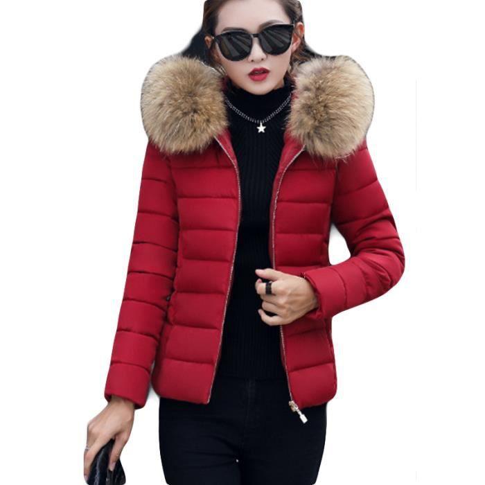 order online big discount shop best sellers Doudoune rouge femme hiver de Marque slim a capuche en fausse fourrure  Vêtement