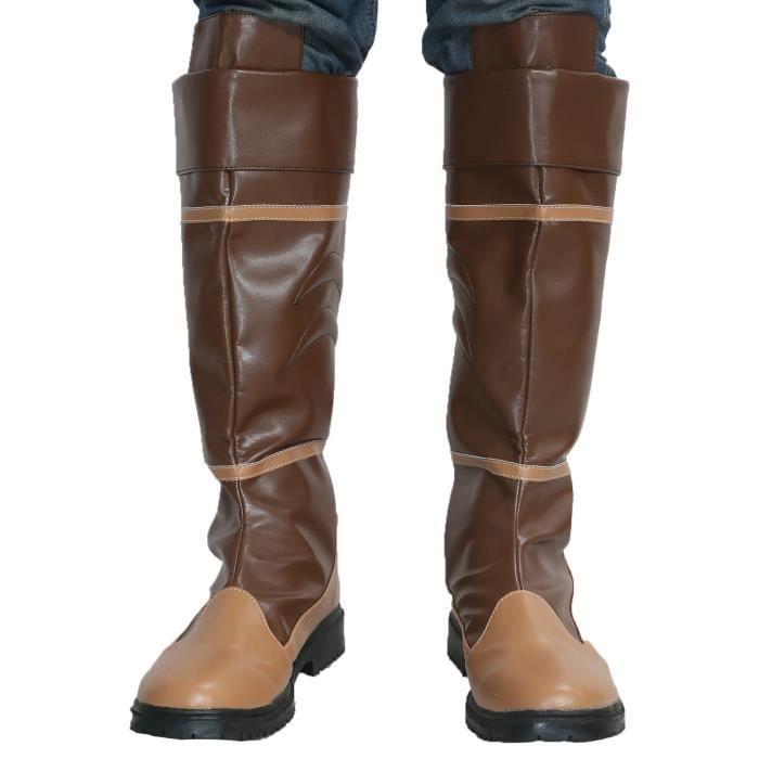 Légende Lien Bottes Pu cuir marron Zelda Hommes Coaply Chaussures Costume CE82S 41