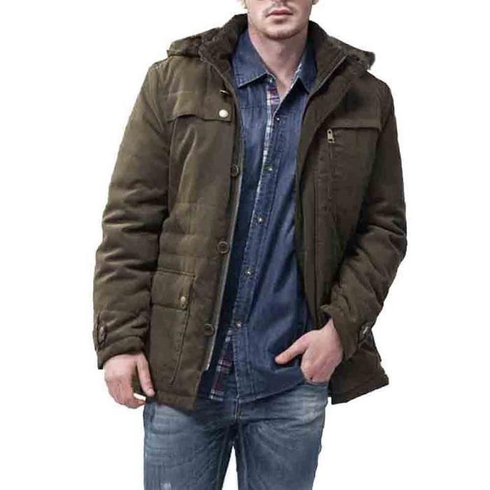 Slim Chaud Hommes Boutons Éclair Trench Fermeture Manteau Pardessus Veste Long Outwear Armée Verte Hiver xE1XqTR1